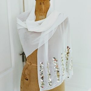 Sheer White Evening Wrap with Gold Sequins
